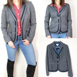 LOFT gray wool blend blazer with navy velvet b15